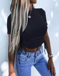Къса дамска тениска с връзки в черно - код 2425