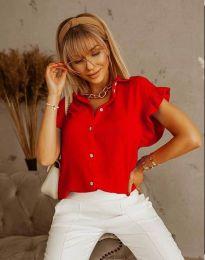 Дамска риза къс ръкав с къдрици в червено - код 4136