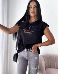 Черна тениска с ефектен принт - код 11760