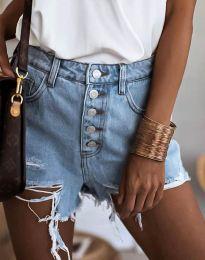 Дънкови панталонки с копчета в светлосиньо - код 4308