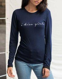 Дамска блуза с надпис в тъмносиньо - код 3333