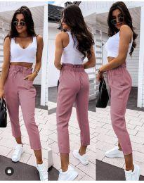 Спортно - елегантен панталон в цвят пудра  - код 8585