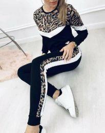 Атрактивен комплект спортен панатлон и блуза с дълъг ръкав с леопардов мотив - код 5655