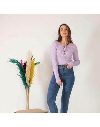 Блуза - код 6365 - светло виолетова