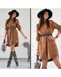Фустан - код 9601 - темно кафеава