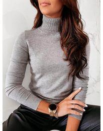 Блуза - код 8861 - 3 - сиво