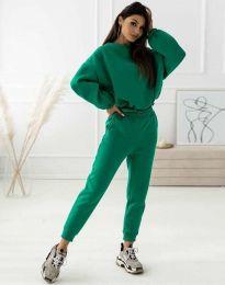 Спортен дамски комплект блуза с дълъг ръкав и долнище с висока талия в зелено - код 1496