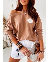 Блуза - код 4026 - кафеава