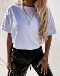 Изчистена дамска тениска в бяло - код 7525