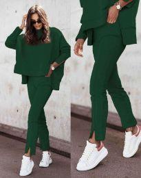 Дамски спортно-елегантен комплект долнище и свободна блуза с дълъг ръкав в тъмнозелелно - код 3171