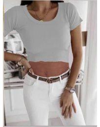 Къса дамска тениска в сиво - код 530