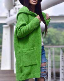 Дамска свободна жилетка с качулка в зелено - код 9066