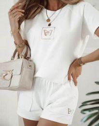 Дамски комплект тениска и къси панталонки в бяло - код 11894