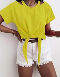 Ефектна дамска тениска в жълто - код 11669