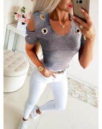 Блуза - код 9691 - сиво