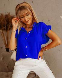 Дамска риза къс ръкав с къдрици в тъмносиньо - код 4136
