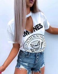 Атрактивна тениска с остро деколте в бяло - код 4480