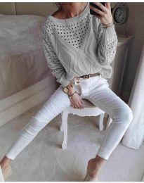 Блуза - код 6182 - сиво