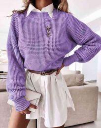 Дамски свободен пуловер в лилаво - код 4180