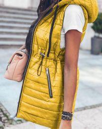 Дълъг дамски елек грейка с качулка в жълто - код 4138