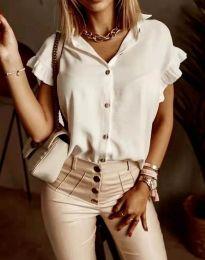 Дамска риза къс ръкав с къдрици в бяло - код 4136