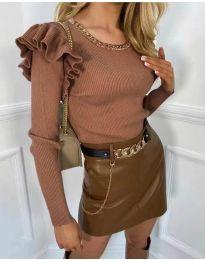Блуза - код 8865 - кафеава