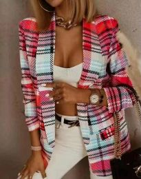 Модерно дамско сако блейзър червено каре - код 8294 - 4