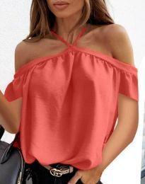 Атрактивна дамска блуза с паднали рамене  в цвят корал  - код 4253