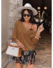 Блуза - код 6013 - кафеава