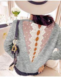 Блуза - код 7077 - сиво