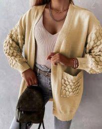 Модерна дълга свободна плетена жилетка в цвят капучино - код 0785