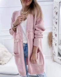 Ефектна дълга плетена дамска жилетка в розово - код 4873
