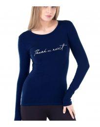 Дамска блуза с надпис в тъмносиньо - код 3341