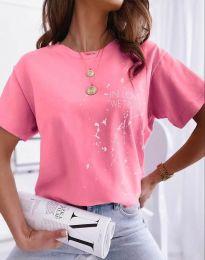 Дамска тениска в розово с принт - код 0401 - лице