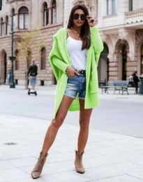 Дамска дълга плетена жилетка с качулка в зелено - код 0577
