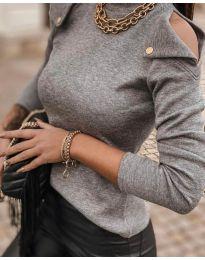Блуза - код 1596 - сиво