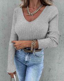 Блуза - код 5918 - сиво