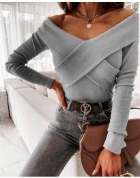 Блуза - код 0308 - 3 - сиво