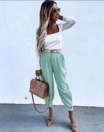 Дамски панталон с колан в цвят мента с широка кройка - код 2109