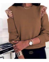 Блуза - код 1539 - кафеава