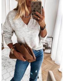 Блуза - код 6012 - сиво