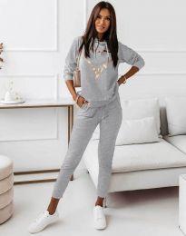 Спортен дамски комплект с блуза с дълъг ръкав и долнище в сиво - код 12034