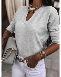 Блуза - код 8059 - сиво