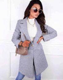 Дамско елегантно палто с копче в сиво - код 4704