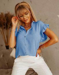 Дамска риза къс ръкав с къдрици в светлосиньо - код 4136