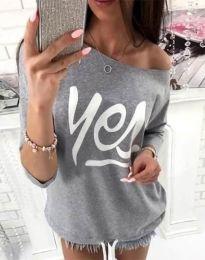 Блуза - код 0996 - 3 - сиво