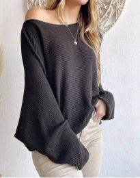 Дамска свободна блуза с паднало рамо от плетиво в черно - код 4588