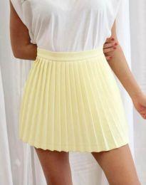 Дамска къса плисирана пола тип панталонки в жълто - код 8787