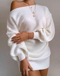 Дълга дамска туника от плетиво с паднало рамо в бяло - код 7962