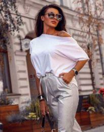 Дамска блуза с къс ръкав в бяло - код 1089